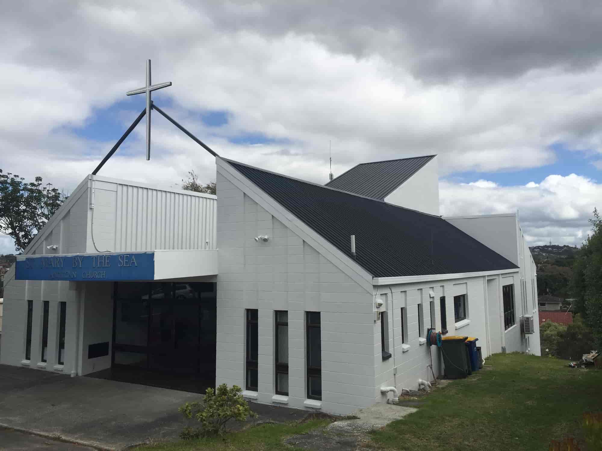 front view on church after paint